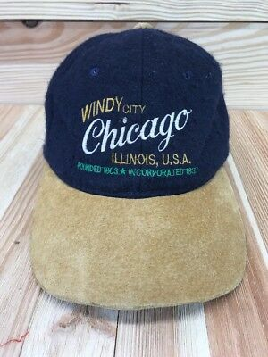 Vtg Kudzu Chicago Baseball Cap Hat Windy City Illinois USA Wool Faux Leather  (Usa Windy City)
