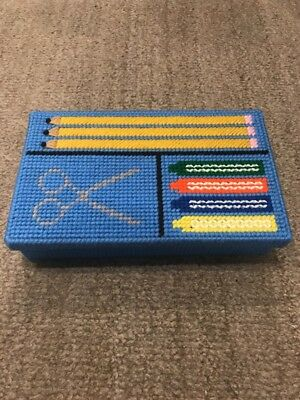 """Finished Plastic Canvas """"Pencil Box"""" NEW"""