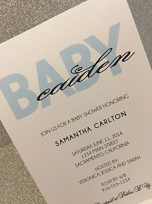 20 Blue Boy Baby Shower Invitation - Personalized With Name!](Baby Shower Boy Invitations)