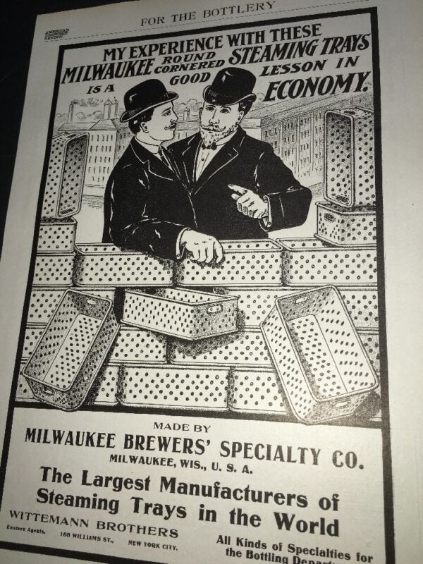 Milwaukee Brewers Steaming Tray  Ad 1908 Brewery Equipment Wittemann Bros
