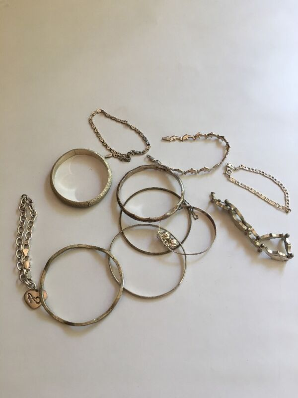 11 Pcs.,Sterling Silver Bracelet Lot, 105 g., Great Condition