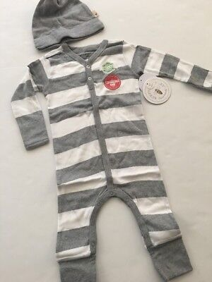 Burts Bees Baby Boy Organic Coverall Hat Set Size 9 12 18 24 Months Gray Striped