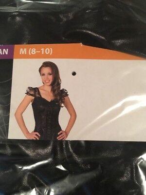 Halloween Costume Woman's Black Strip Flirty Top Medium 8-10 New