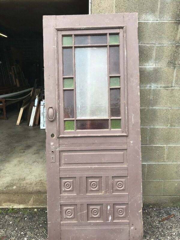 MAR 252Antique Queen Anne Bulls eye entrance door33.75 x 81.75