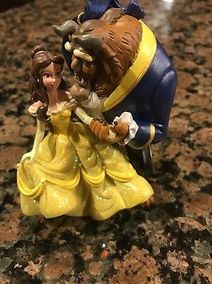 Disney Park Couple Beauty and The Beast 3D Ornament Belle Glitter Dress NWT