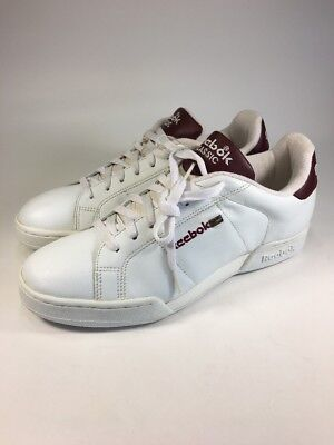 03d37737bde Reebok Classic Vintage BRAND NEW White Burgendy Leather Sneakers Mens Size  9 M