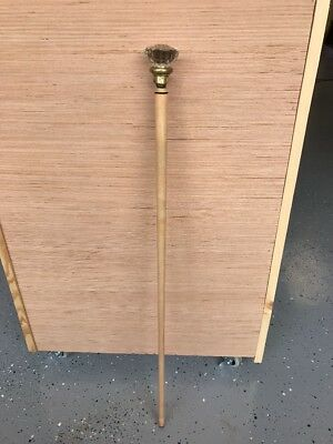 "ANTIQUE CUSTOM CRYSTAL TOP POOL CUE 32"" WOOD CANE"