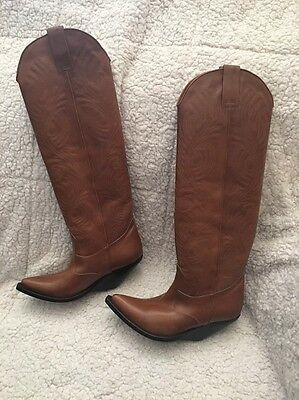VETEMENTS Cognac Tall Cowboy Brown Wedge Heel Boot Women's Sz 37  us 7 NEW $2035