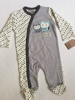 Chick Pea Baby Boy Geo Coverall Size 3 6 9 months Grey Ivory Owl Layette - Owl Coverall