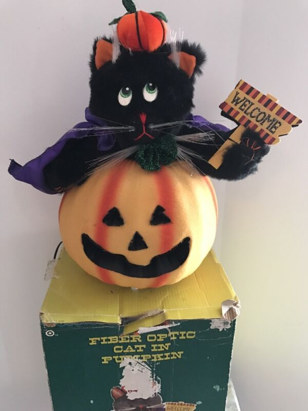 Halloween Decoration Welcome Fiber Optic Pumpkin Jack-O-Lantern With Cat  D