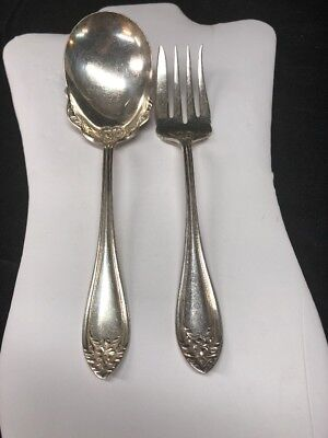 1881 Rogers Silver Plate Salad Serving Fork & Spoon Lot of 2 Greylock? 1881 Rogers Silverplate