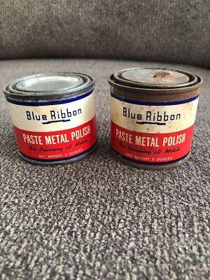 2 Vintage Garage Blue Ribbon Paste Metal Polish Tin Can 5 oz Man Cave