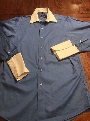 Donald J Trump Blue White French Cuff Dress Shirt Sz 15 32 33  V1