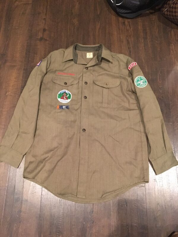 Vintage Wool Scoutmaster Boy Scout Button Down Green Long Sleeve Shirt Ohio