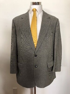 Brooks Brothers Men's Black and White Wool 2 Button Suit 46R Pants 37x29