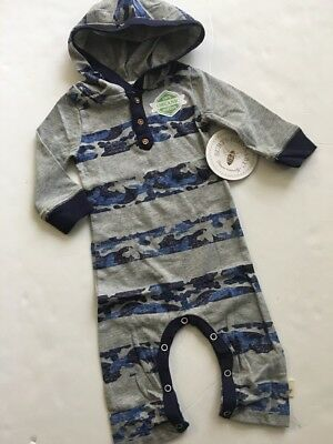 Burts Bees Baby Boy Camo Striped Hooded Coverall Size 3 6 9 months Grey Blue