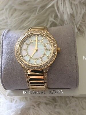 Michael Kors MK3312 Kerry Gold Tone Of Pearl Crystal Dial 38mm Women's Watch NEW