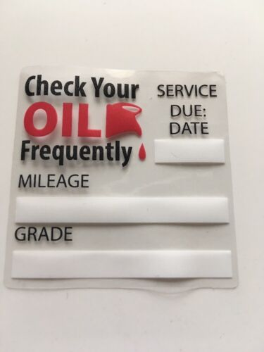 Owner 16 oil change service reminder static cling stickers