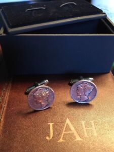 Silver Mercury Dime Cufflinks With Cufflink Box Included. Heads Up On This Set.