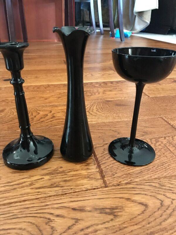 Lot Of 3 Black Glass Goblet Candlestick Vase Wine Glass