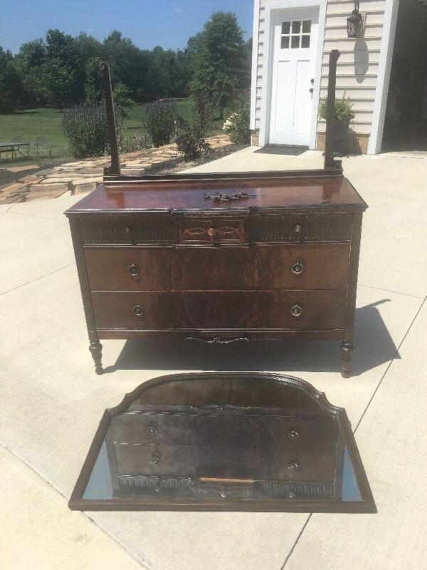 Antique 5 Drawer Dresser W/ Swing Mirror Warren Furniture Dovetail Drawers Brass