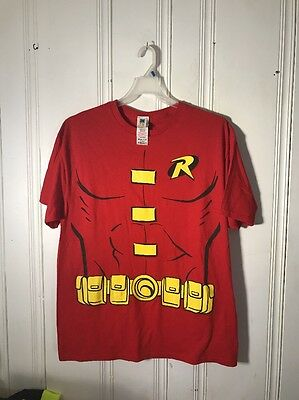 TEEN TITANS GO ROBIN TEE WITH CAPE MENS XL RED SHORT SLEEVE GRAPHIC NEW WITH TAG (Robin T Shirt With Cape)