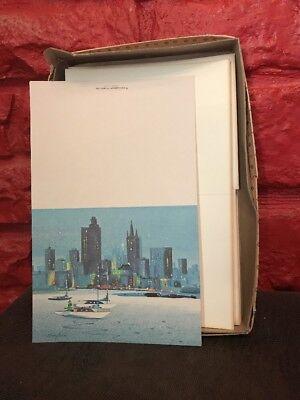 Vintage Masterpiece Studios Season Greetings Christmas Cards Skyline Chicago A7