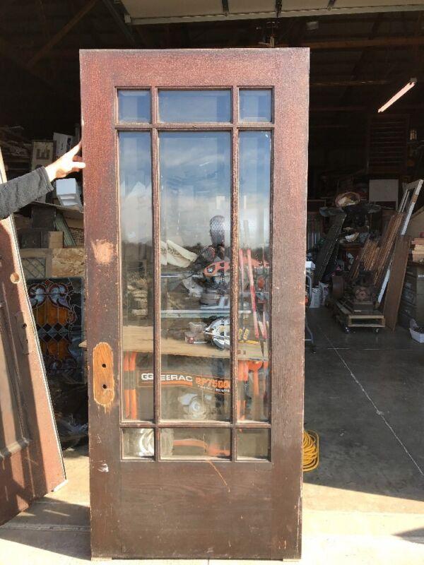 Sg 458 Antique Beveled Glass Prairie Style Entrance Door 35 5/ 8 X 83