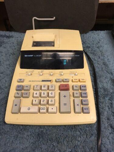 Sharp EL-2630P 12 Digit 2 Color Ribbon Printer Yellow Corded Office Calculator