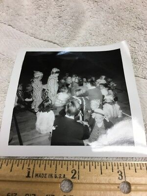 Group of Young Kids On Halloween Vintage B/W Picture Photo Snapshot 1960