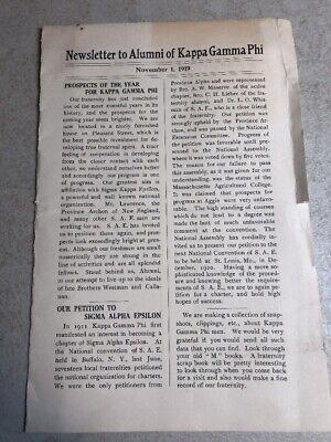 Rare 1919 Massachusetts Agricultural College Kappa Gamma Phi Newsletter