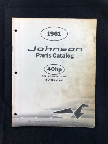 1961 JOHNSON OMC PARTS CATALOG LIST MANUAL 40 HP MODELS P/N 378461 DEALER