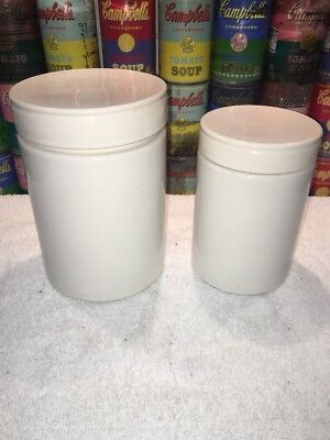 (2) Marimekko for Pfaltzgraff Mid Century Modern Cylindrical White Canisters