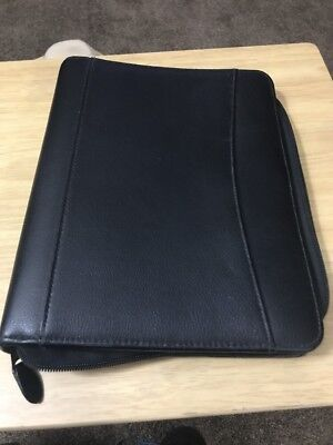 Black Leather Day Planner Classic Size 7 Ring Franklin Organizer