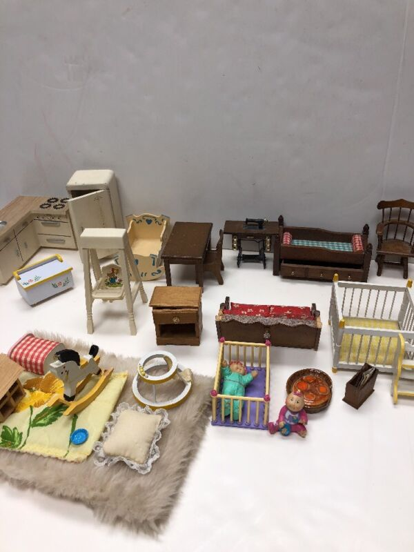 Miniature Dollhouse Furniture Mixed Lot Baby Cribs Kitchen, Table, Chairs
