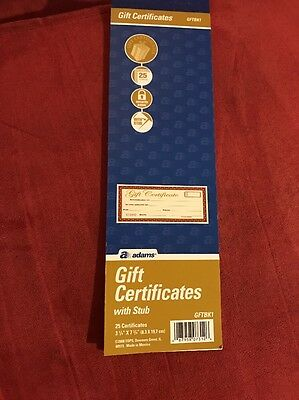 Adams Gift Certificate Book Single Paper 3.25 x 11 Inches Cream 25 Numbered -