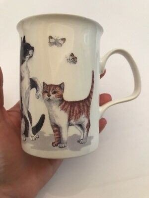 Cat Lovers Bone China Mug 1989 Roy Kirkham Butterflies