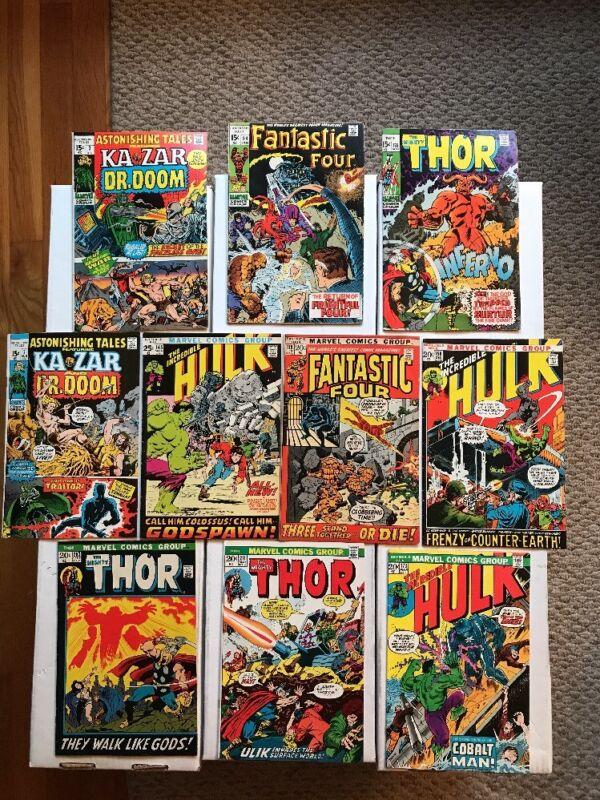 LOT OF 10 EARLY BRONZE AGE MARVEL COMICS (1970-74) Hulk Thor Fantastic 4! FN/VF!