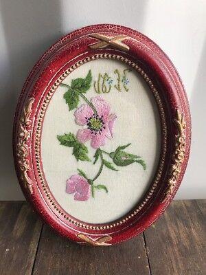 Vintage Oval Embroidered, Needlework Pink Flower Sampler In Frame, ❤️