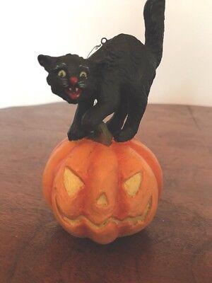 Bethany Lowe Halloween Black Cat on a Jack-o-Lantern Ornament—retired