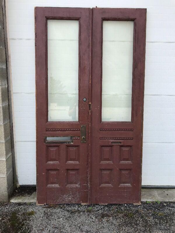 MAR 227 match Pair antique Double Doors oak beveled glass 4' x 87