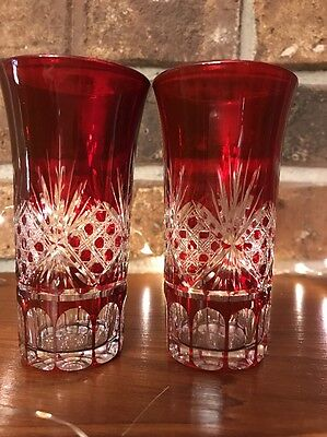 2 Cut To Clear Crystal Ruby Red Tall Shot Glasses Cordials Czech Bohemian