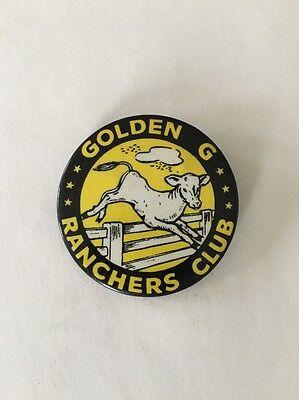 Vintage Pinback Golden G Ranchers Club 1950's Dairy Advertising Button Farm Milk