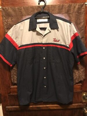PBR PABST BLUE RIBBON ~ Mens Large Beer Delivery Uniform Bowling Shirt + KOOZIES