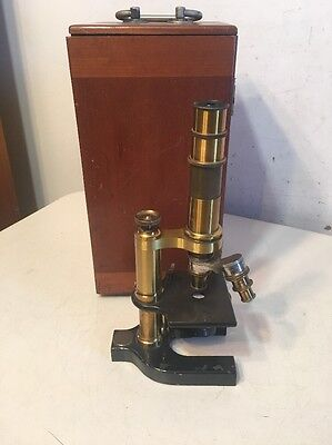Antique Bausch & Lomb Optical Co. Fancy Brass Microscope With Case