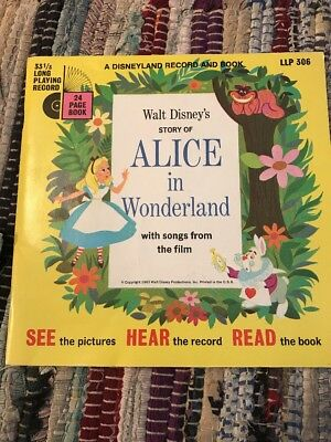 1965 Disney Alice in Wonderland 33 1/3rpm readalong book and record Read Descrip
