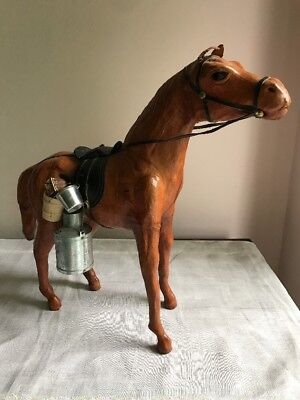 "13"" Tall Cowboy Leather Horse With Saddle & Accessories ~ Glass Eyes ~ Nice"