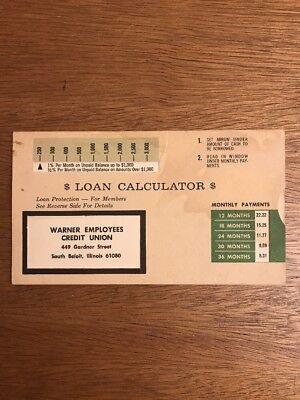 Vintage Warner Employees Credit Union South Beloit, Illinois Loan Calculator