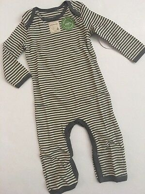 Burts Bees Baby Boy Organic Coverall Size 3 6 9 Months Grey Yellow Layette