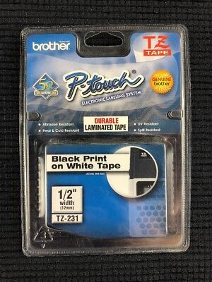 Tz-231 Brother P-touch Labels 12 Black Print On White Tape